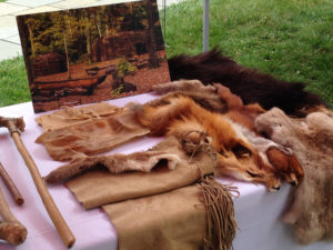 An outreach table set up with pieces of leather, animals furs, replicated tools and a photo of the village.